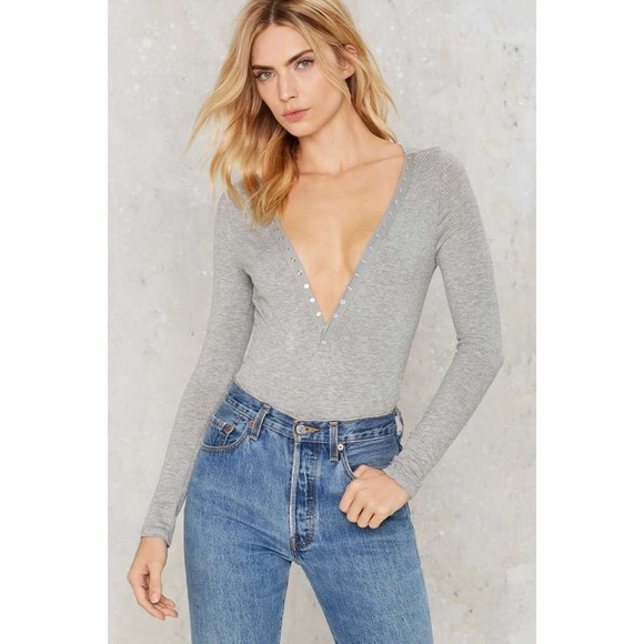 Nasty Gal Other - Honey Punch Grey Oh Snap Long Sleeve Bodysuit